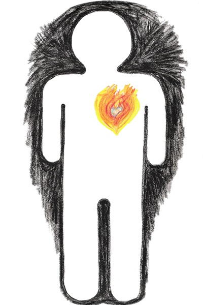 AIGA-style figure with heart made of fire